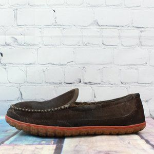 LL BEAN Brown Suede Slip-on Moccasin Slippers Sz 9
